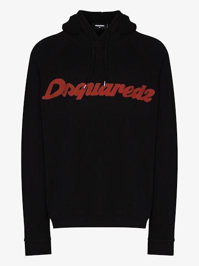 italic logo print hoodie