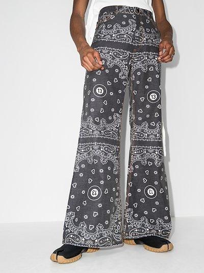Bandana Print Wide Leg Jeans