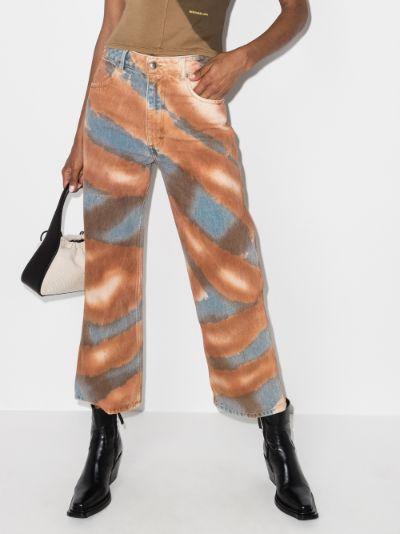 patterned wide leg jeans