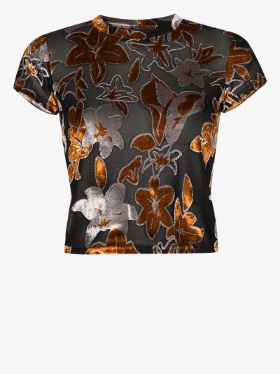 Shrunk floral velvet T-shirt