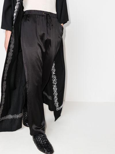 drawstring silk trousers