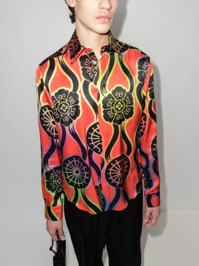 Ribbons printed silk shirt