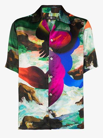 X Erik Jones Mason print silk shirt