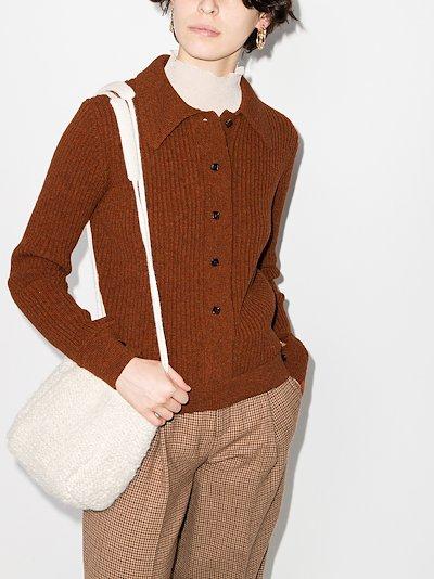 point collar wool cardigan