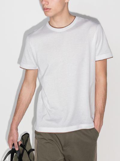 contrasting trim cotton T-shirt