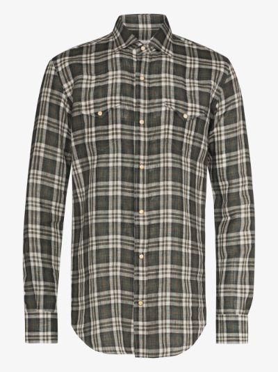 Western checked linen shirt
