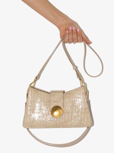 neutral Baguette mock croc leather shoulder bag