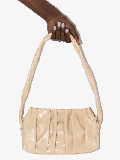 neutral long Vauge leather shoulder bag