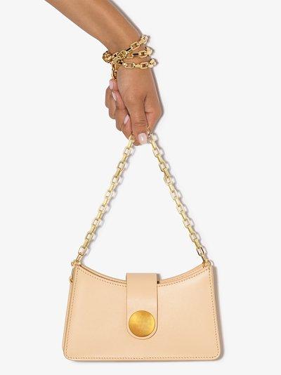 neutral mini baguette shoulder bag