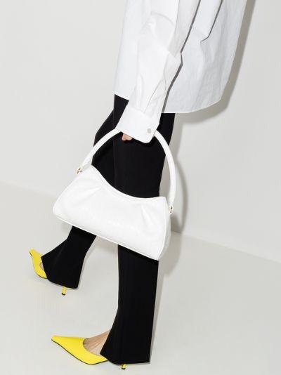 white Dimple Mock Croc Leather Shoulder Bag