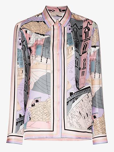 Battistero print silk shirt