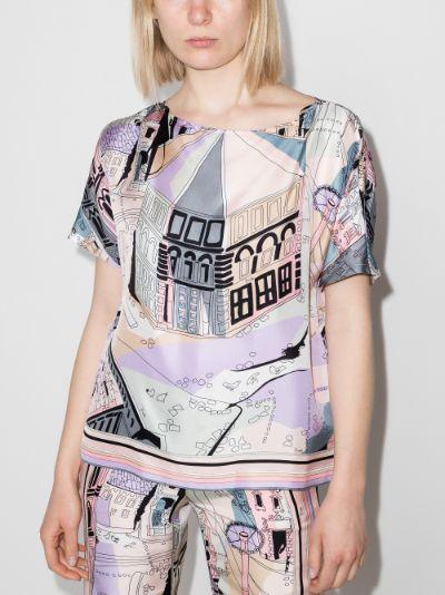 Battistero Print Silk Top