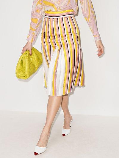 Bordo Battistero print pleated midi skirt