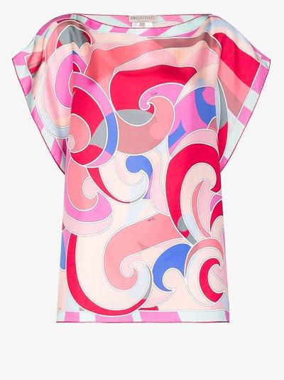 printed boat neck silk top