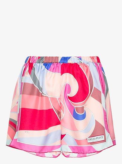 Quirimbas print silk shorts