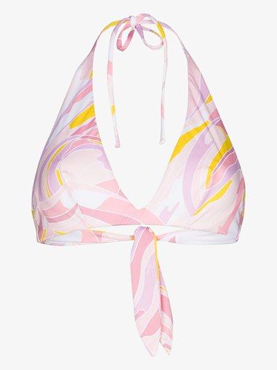 Vetrate print halterneck bikini top