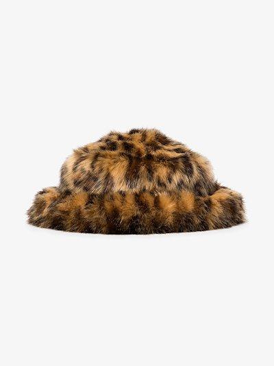 Brown leopard print faux fur bucket hat