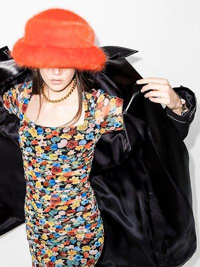 orange faux fur bucket hat