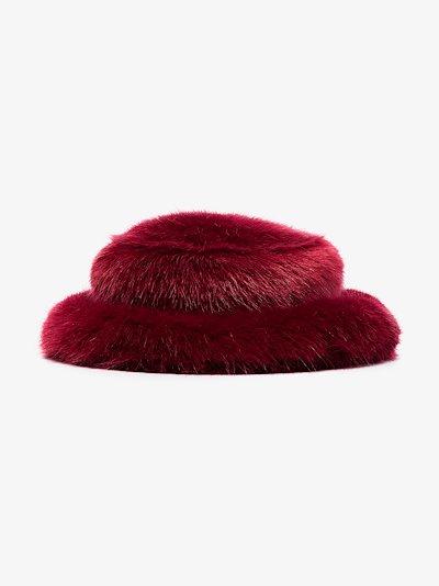 red faux fur bucket hat