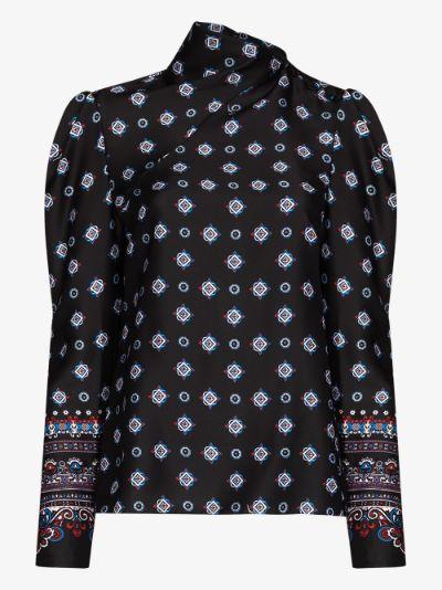 cedric puff sleeve silk blouse