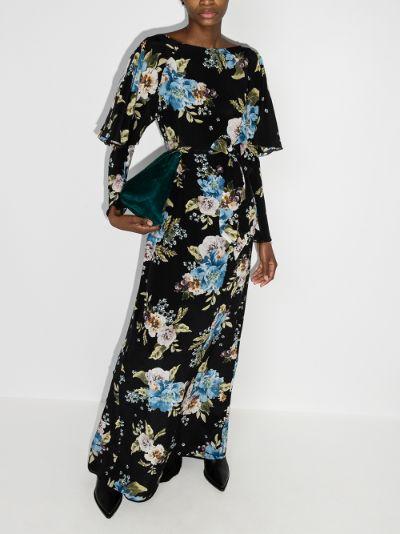 Jude carnation print silk maxi dress