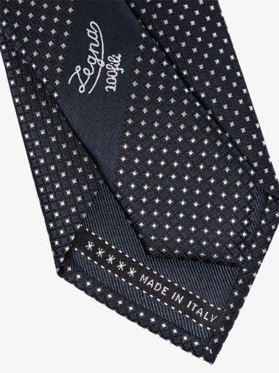 blue geometric print silk tie