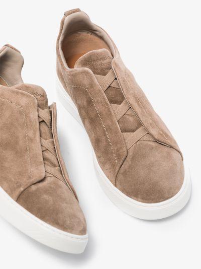 brown slip-on suede sneakers