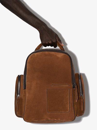 Brown suede backpack