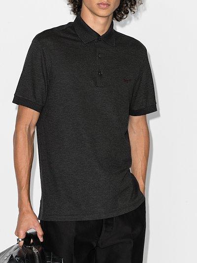 mottled jersey polo shirt