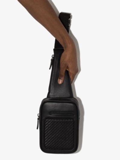 woven-detail leather messenger bag