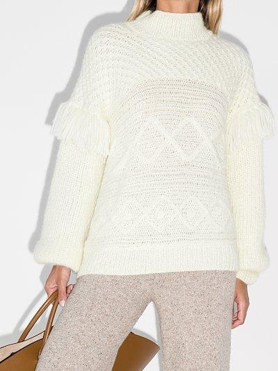 fringed sleeve crochet knit sweater