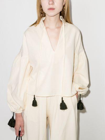 Veronica tasselled cotton blouse