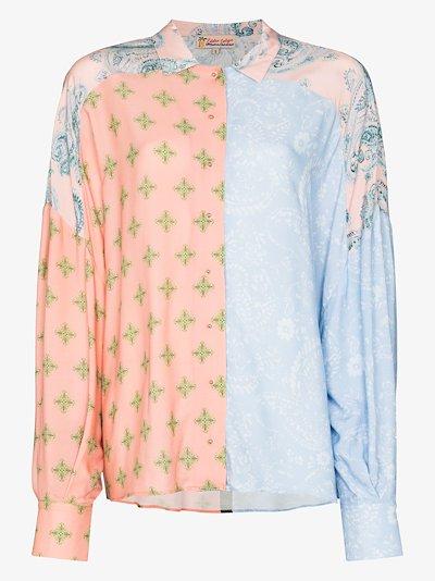 patchwork paisley print shirt