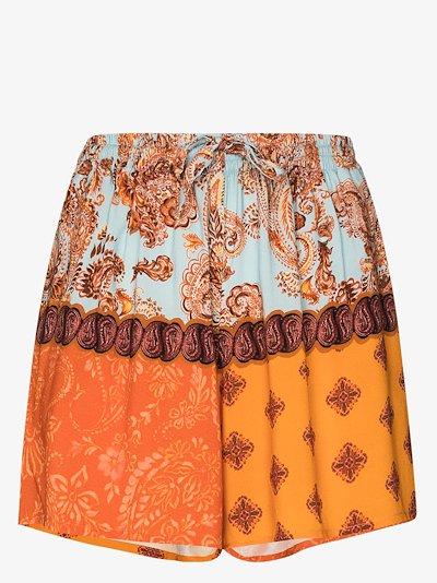 patchwork paisley print shorts