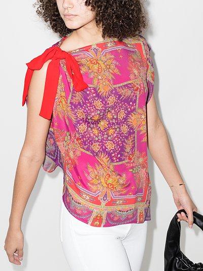 asymmetric floral print top