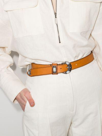 Brown crescent leather belt