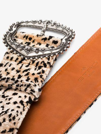 brown leopard print waist belt