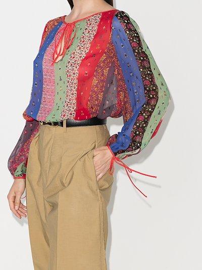 contrast striped silk blouse