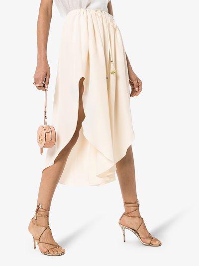 drawstring asymmetric silk skirt