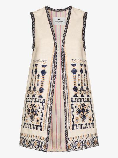 embroidered sleeveless vest