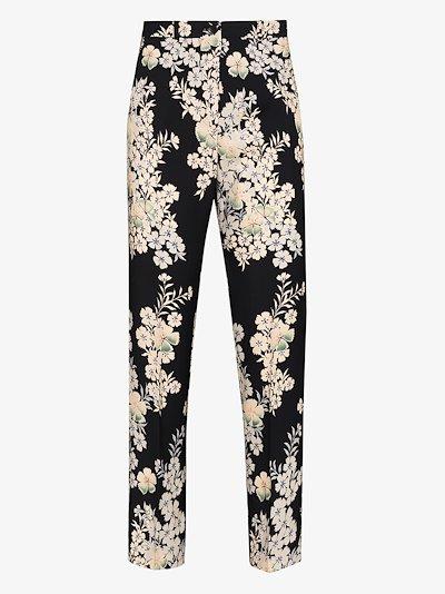 floral jacquard trousers