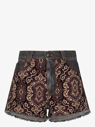 jacquard panel denim shorts
