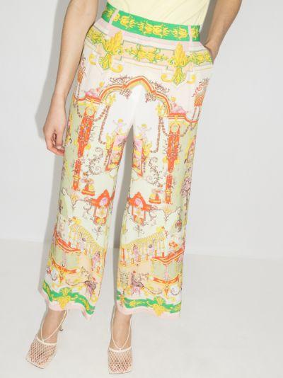 Ornamental print silk trousers
