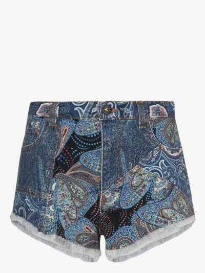 paisley patchwork high waist shorts