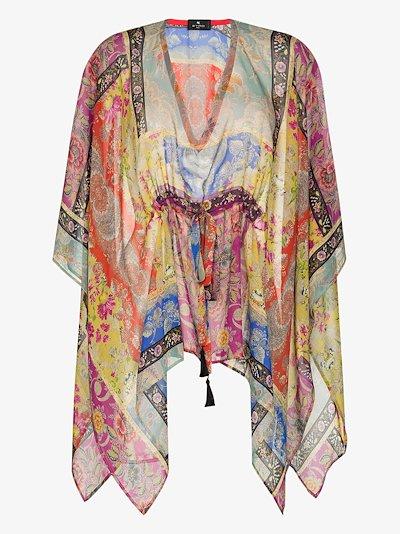 printed silk poncho