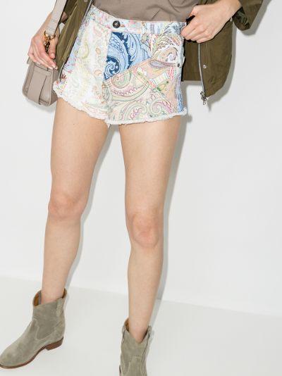 Raw hem printed shorts