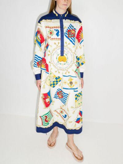 scarf-print shirt dress