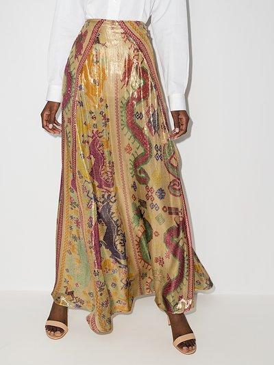 Sea Dragon printed maxi skirt