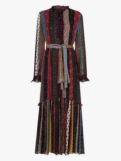 stripe print maxi silk dress