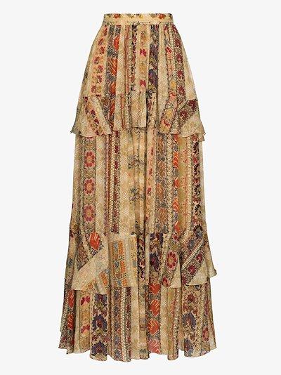 tapestry print ruffled maxi skirt